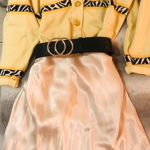 Cream Satin Feel Slip Skirt